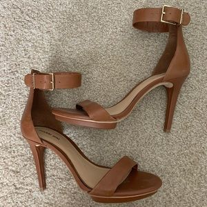 Never Worn!! Cognac leather high heels!! Size 10!!